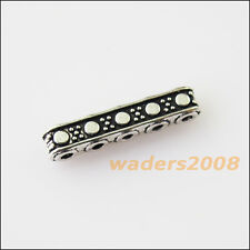 25 New 5-5Holes Bars Connectors Charms Tibetan Silver Tone Spacer Beads 3.5x17mm