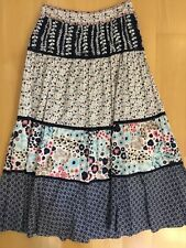 NEXT 12 Vgc Blue Cream Floral Block Pattern Cotton Tiered Lined Maxi Skirt