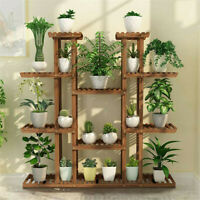 Large 11 Tiered Wood Plant Stand Carbonized Pot Shelf Holder Flower Shop Office