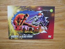 1992 MARVEL UNIVERSE III BLACK WIDOW & DAREDEVIL CARD SIGNED LEE WEEKS,WITH POA