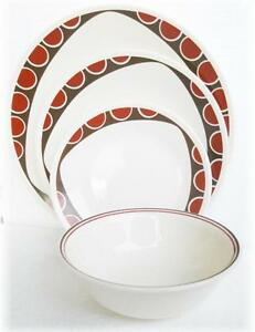 """NEW Corelle KITU SANDSTONE 10 1/4"""" DINNER PLATE *Tribal Triangle Dots Red Brown"""