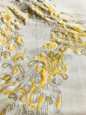 Designer 100% Silk Charmeuse Gold Floral Versace Print Fabric By The Yard