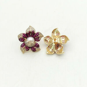White Pearl Cz Pave Pearl Earrings Yellow Gold Plated Cz Flower Stud Earrings AU