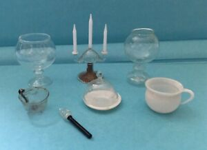 Acht alte Teile  Lauscha Glas, z.B. Kerzenleuchter