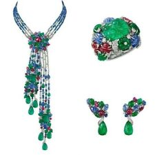 925 Sterling Silver Tutti Frutti Statement Necklace With Matching Ring, Earrings
