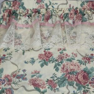 Croscill Elizabeth Gray Victoria Lace Shower Curtain Pink Blue Green Floral
