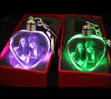 Custom Laser Etched Engraving Crystal Photo Key Chain Ring W LED Light Wedding