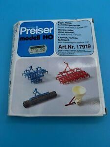PREISER 17919 HO GAUGE HARROW / ROLLER / DUNG SPREADER KIT - BOXED