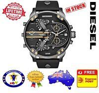 DIESEL DZ7348 MR DADDY 2.0 Gunmetal Gold Black Leather Chrono Mens Watch