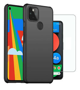For Google Pixel 4a 5G Case Slim Hard Cover & Glass Screen Protector 6.2""