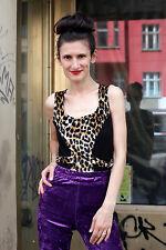 Lulu Damen Shirt Top schwarz Leopard 80er True VINTAGE 80´s women made in France