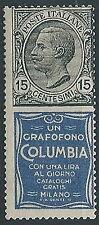 1924-25 REGNO PUBBLICITARIO COLUMBIA 15 CENT MH * - ED919