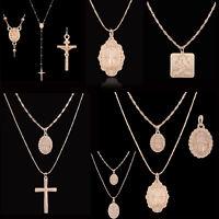 Boho Jesus Cross Necklace Religious Style Chain Drop Pendant Choker Jewelry