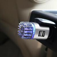 Car Air Purifier Refresher Portable Air Ionizer For Smoke Odor Dual USB and LED