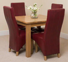Oslo 90cm Kitchen Solid Oak Dining Table and 4 Ivory Leather Chairs