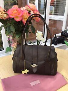 Radley Marsden Deep Brown Leather Large Triple Compartment Shoulder Bag Inc Dog