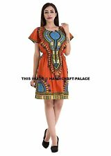 7fa00e9717d Women s Traditional African Dashiki Orange Mini Dress Short Sleeve Party  Tunic
