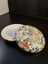 Chinese Antique 19th Century Dragon Yellow Porcelain Small Circular Box