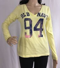 Old Navy Shirt Light Yellow Small Long Sleeve Deep V-Neck Sexy Casual Sporty Top