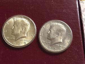 1969 & 1979 Kennedy Half Dollars Uncirculated AU In plastic casing