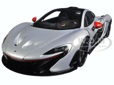MCLAREN P1 ICE SILVER WITH RED ACCENTS 1/18 MODEL CAR BY AUTOART 76023