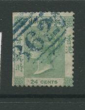 Hong Kong SG5 1862 24c green No Wmk Perf 14 Used. No perfs on LHS