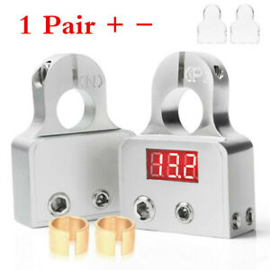 2pcs Car Battery Terminal Connectors Alloy w/ 12V-24V Voltmeter 0/4/8 Gauge AWG