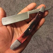 Vintage Shaving Barber Red Charcoal Handle Surgical Steel Blade Straight Razor