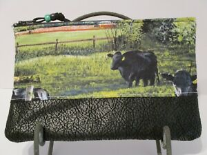 ZIPPER POUCH CAMERA CASE COSMETIC JEWELRY BLACK ANGUS COW FARM  FAUX LEATHER