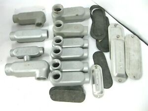"""MISC LOT of Electric Threaded C Form 85 Unilet Conduit Outlets 1/2"""" 3/4"""", 1"""""""