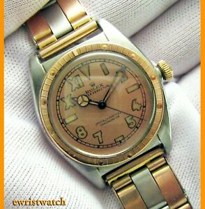 Vintage 40's Rolex Oyster Perpetual Bubbleback 18K Rose Gold/SS w/Cromwell Band