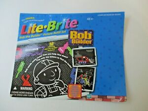 Lite Brite refill sheets Bob The Builder FREE SHIP Templates RARE HIT TOY Hasbro