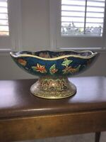 Antique Japanese Satsuma Scalloped Footed Fruit Bowl Gold Blue
