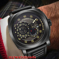 parnis black dial Sapphire Glass black PVD case automatic military mens Watch