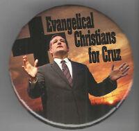 2016 pin TED CRUZ pinback EVANGELICAL CHRISTIAN Cross button
