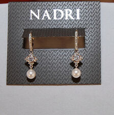 Nadri Silver Tone Clear Crystal with Pearl Drop Earrings NWT$45