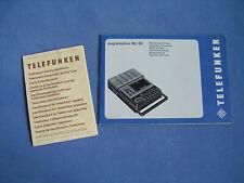 Bedienungsanleitung Telefunken MC 80 Magnetophon mit Geräte-Identkarte Hannover