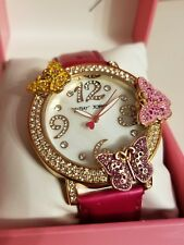 Betsey Johnson Pink and Rose Gold tone Butterfly crystal Bling Watch NEW