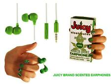 NEW JUICY BRAND APPLE SCENTED NOVELTY EAR PHONES WITH MIC AND REMOTE ON LEAD