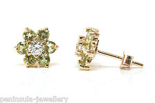 9ct Gold Peridot and CZ Cluster studs earrings Made in UK Gift Boxed