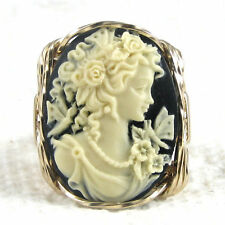 Grecian Goddess Black Cameo Ring 14K Rolled Gold Jewelry Resin Any Size