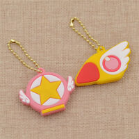 2 Pcs Silicone Key Cap Cover Keychain Case Shell Anime Card Captor Sakura Gift