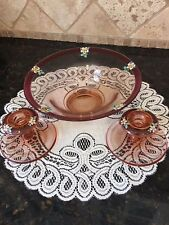 Pink Depression Glass Console Bowl~enameled flowers~2 candlestick holders