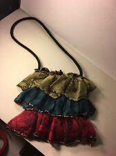 Mary Frances Handbag Purse dress shape party shoulder bag beads Ruffled Silk