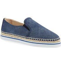 $450 JIMMY CHOO 'Dawn' Braided Espadrille Slip on Shoes Blue Denim 38