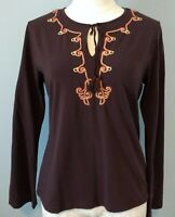 Soft Surroundings Womens Size M Tunic Top Brown Embroidered Long Sleeve Stretch