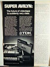 TDK SUPER AVILYN VHS TAPE / STRESSTABS VTG 1980 AD, RARE SOUGHT EPHEMERA