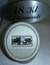 Solitario in Oro Bianco 750 18 KT e Diamanti ct 0.20 Gr 3.4 Nuovo SavaGioielli