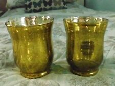 TWO GREEN/GOLD MERCURY GLASS CANDLE/TLIGHT HOLDERS ( HURRICANE ?) - CHRISTMAS