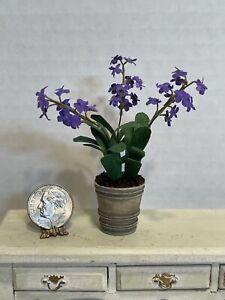 Artisan PAULA GILHOOLEY Beautiful Purple Potted Flowers Dollhouse Miniature 1:12